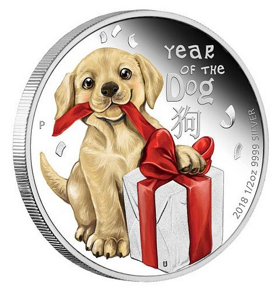 1/2 oz Ag stříbrná mince Year of the Dog Baby Dog ROK PSA 2018