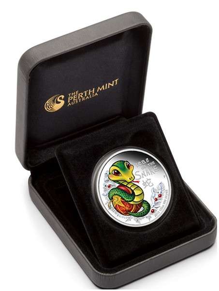 1/2 oz Ag stříbrná mince Year of the Snake Baby Snake ROK HADA 2013