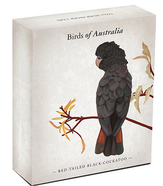 1/2 oz Ag stříbrná mince Birds of Australia Red-tailed Black-Cockatoo KAKADU HAVRANÍ