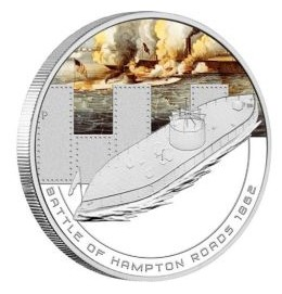 1 oz Ag stříbrná mince Famous Naval Battles, Battle of Hampton Roads BITVA U HAMPTON ROADS 1862