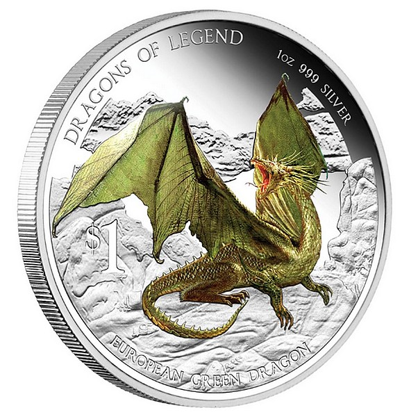 1 oz Ag stříbrná mince Dragons of Legend European Green Dragon EVROPSKÝ ZELENÝ DRAK