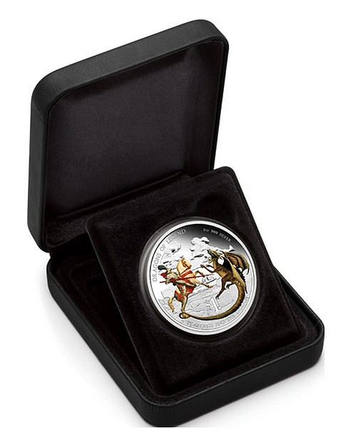 1 oz Ag stříbrná mince Dragons of Legend St George and the Dragon SVATÝ JIŘÍ A DRAK