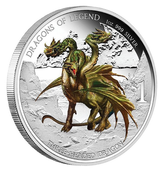 1 oz Ag stříbrná mince Dragons of Legend Three-Headed Dragon TŘÍHLAVÝ DRAK