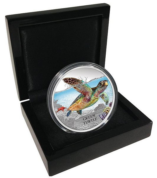 1 oz Ag stříbrná mince Endangered and Extinct Green Turtle KARETA OBROVSKÁ
