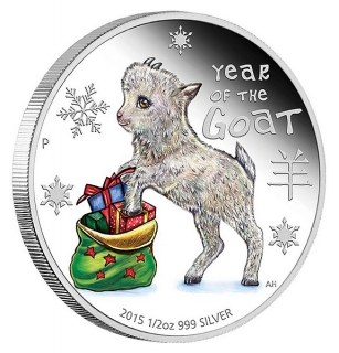 1/2 oz Ag stříbrná mince Year of the Goat Baby Goat ROK KOZY 2015