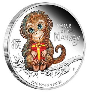 1/2 oz Ag stříbrná mince Year of the Monkey Baby Monkey ROK OPICE 2016