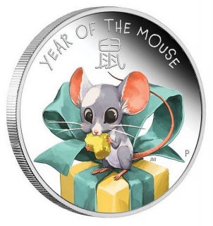 1/2 oz Ag stříbrná mince Year of the Mouse Baby Mouse ROK MYŠI 2020