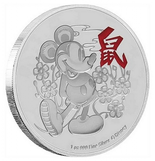 1 oz Ag stříbrná mince Disney Lunar Year of The Mouse 2020