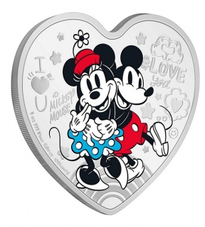 1 oz Ag stříbrná mince Disney Love Ultimate Couple – Mickey Mouse and Minnie Mouse Nerozlučný pár