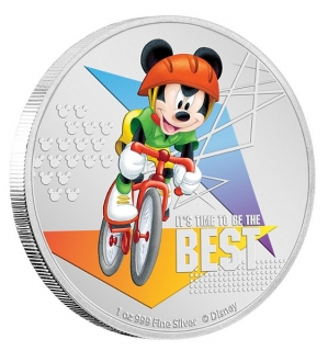 1 oz Ag stříbrná mince Disney Mickey Mouse It's Time to Be the Best – CYKLISTA