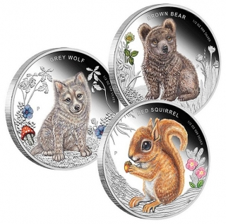 Forest babies, Red Squirrel VEVERKA, Grey Wolf VLK, Brown Bear MEDVĚD, (3x 1/2 oz stříbrná mince)