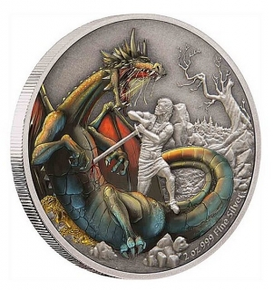 2 oz Ag stříbrná mince The Mythical Dragons of the World – The Norse Dragon NORSKÝ DRAK