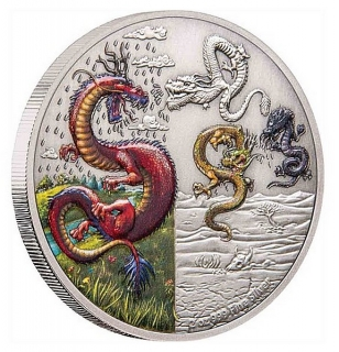 2 oz Ag stříbrná mince The Mythical Dragons of the World – The Four Dragons ČTYŘI DRACI