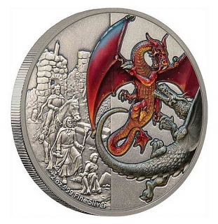2 oz Ag stříbrná mince The Mythical Dragons of the World – The Red Dragon ČERVENÝ DRAK