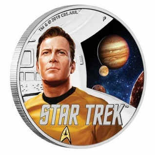 1 oz Ag stříbrná mince Star Trek The Original Series – The Captain James T. Kirk a Jupiter