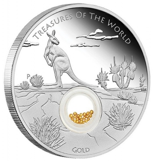 1 oz stříbrná mince Treasures of the World Australia Locket Coin with Gold POKLADY SVĚTA, AUSTRALSKÉ ZLATO 2014