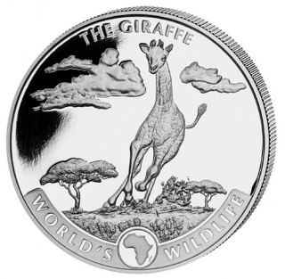 1 oz Ag stříbrná mince Congo World's Wildlife – The Giraffe Žirafa