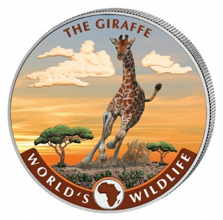 1 oz Ag stříbrná mince Congo World's Wildlife – The Giraffe Color Žirafa barevná