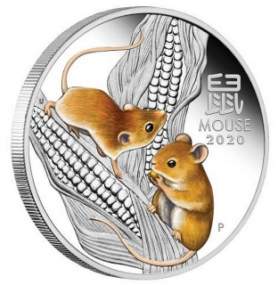 1 oz Ag stříbrná mince Year of the Mouse Coloured ROK MYŠI 2020 Lunární série III.