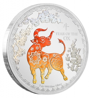 1 oz Ag stříbrná mince Year of the Ox NIUE – ROK BUVOLA 2021