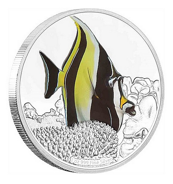1 oz Ag stříbrná mince Reef Fish - Moorish Idol