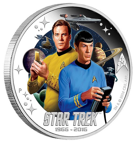 1 oz Ag stříbrná mince Star Trek The Original Series - Captain James T. Kirk and Spock