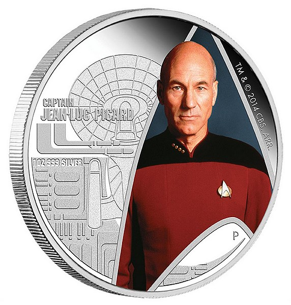 1 oz Ag stříbrná mince Star Trek The Next Generation – Captain Jean-Luc Picard