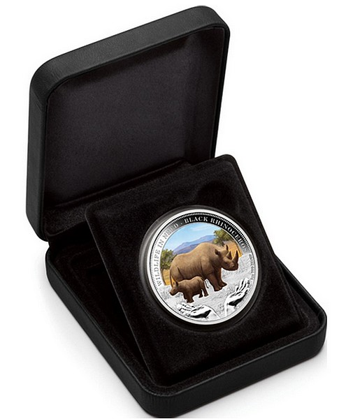 1 oz Ag stříbrná mince Wildlife in Need Black Rhinoceros NOSOROŽEC