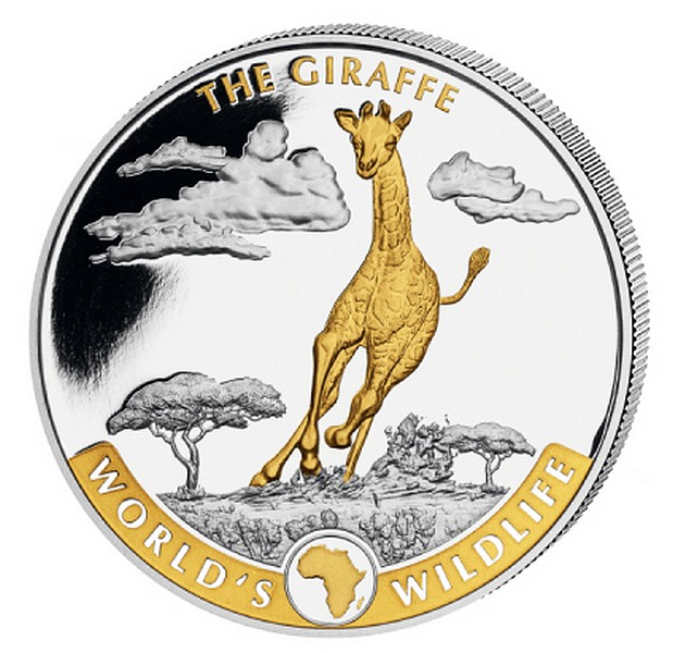 1 oz Ag stříbrná mince World's Wildlife – The Giraffe Gilded ŽIRAFA pozlacená