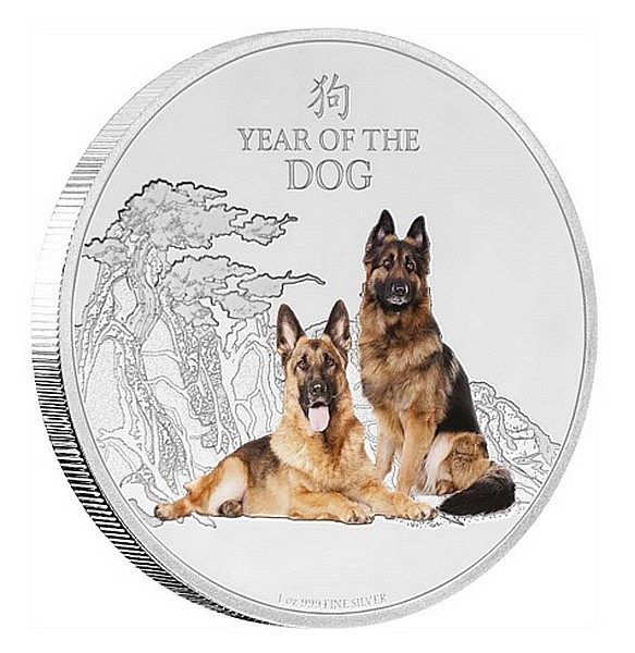 1 oz Ag stříbrná mince Year of the Dog ROK PSA 2018