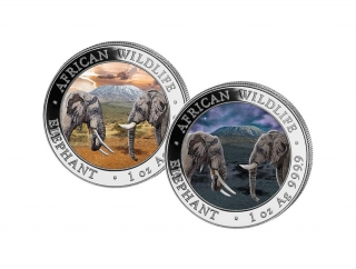 African Wildlife Somalia Elephant Day and Night sada 2 stříbrných mincí (2×1 oz)