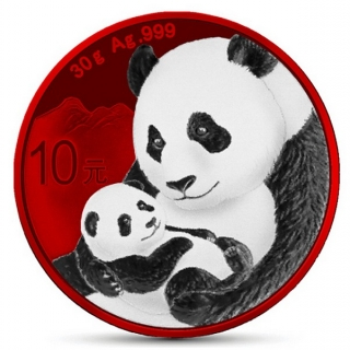 30g stříbrná mince China (Chinese) PANDA SPACE RED