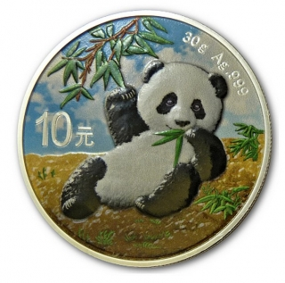 30g Ag stříbrná mince China (Chinese) PANDA 2020 Day Design coloured