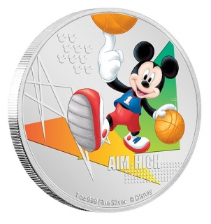 1 oz Ag stříbrná mince Disney Mickey Mouse Aim High – Basketball