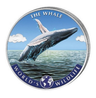 1 oz Ag stříbrná mince World's Wildlife – The Whale VELRYBA barevná