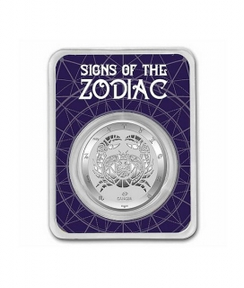 1 oz Ag stříbrná mince Signs of the Zodiac Cancer – znamení zvěrokruhu – RAK